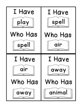 I Have Who Has Fry Words - Eighth 25 Words (Words 176-200) Sight Word Game