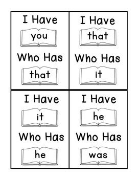 I Have Who Has Fry Words - First 25 Words (Words 1-25) Sight Word Game