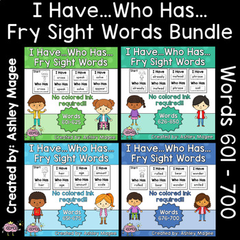 I Have Who Has Fry Words - Seventh 100 Words Bundle (Words 601-700) Games