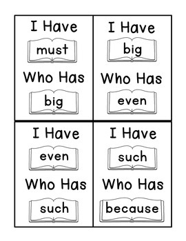 I Have Who Has Fry Words - Seventh 25 Words (Words 151-175) Sight Word Game
