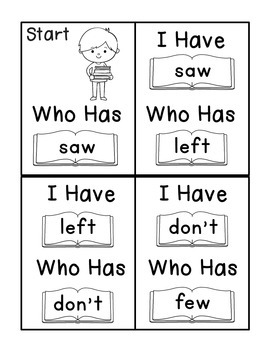 I Have Who Has Fry Words - Tenth 25 Words (Words 226-250) Sight Word Game