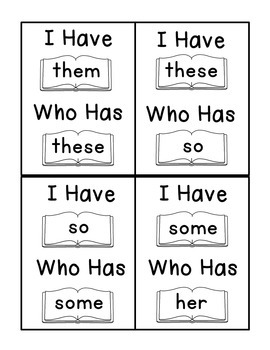 I Have Who Has Fry Words - Third 25 Words (Words 51-75) Sight Word Game