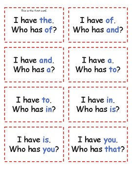 I Have, Who Has? Fry's 1st 100 Sight Words Game