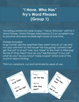 """I Have, Who Has"" Fry's Word Phrases (Group 1)"