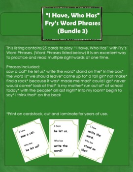 """""""I Have, Who Has"""" Fry's Word Phrases (Group 3)"""