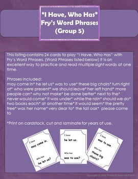 """I Have, Who Has"" Fry's Word Phrases (Group 5)"