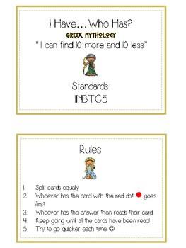 I Have Who Has - GREEK MYTHOLOGY - Ten More Ten Less - Math Folder Game