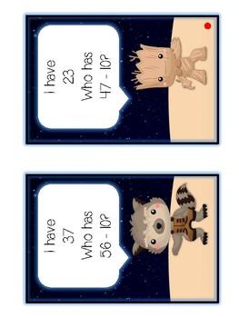 I Have Who Has - GUARDIANS - Ten More Ten Less - Math Folder Game