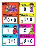 I Have Who Has Game +0 and Doubles Addition Facts