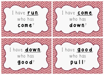 I Have, Who Has Game - 1st Grade Texas Treasures Unit 1 Sight Words - DOTS