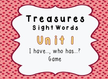 I Have, Who Has Game - 1st Grade Texas Treasures Unit 1 Si