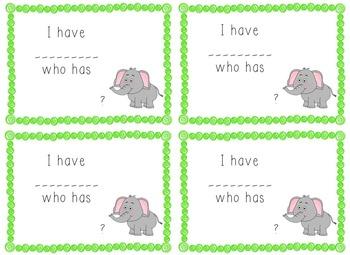 I Have, Who Has Game - 1st Grade Texas Treasures Unit 1 Sight Words - Elephants
