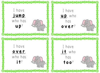 I Have, Who Has Game - 1st Grade Texas Treasures Unit 1 Sight Words - Elephants