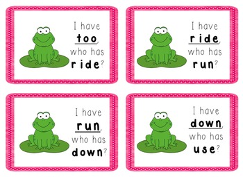 I Have, Who Has Game - 1st Grade Texas Treasures Unit 1 Sight Words - FROGS