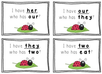 I Have, Who Has Game - 1st Grade Texas Treasures Unit 2 Sight Words