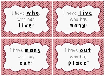 I Have, Who Has Game - 1st Grade Texas Treasures Unit 2 Sight Words - DOTS
