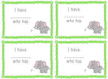 I Have, Who Has Game - 1st Grade Texas Treasures Unit 2 Sight Words - Elephants
