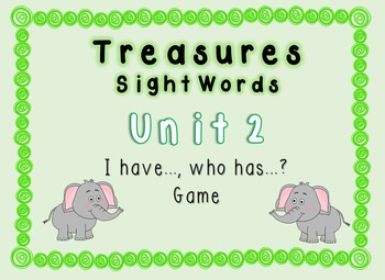 I Have, Who Has Game - 1st Grade Texas Treasures Unit 2 Sight Words - Elephants