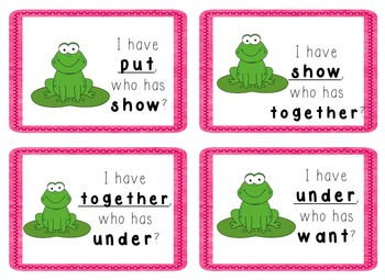 I Have, Who Has Game - 1st Grade Texas Treasures Unit 2 Sight Words - FROGS