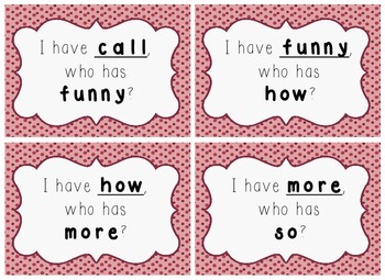 I Have, Who Has Game - 1st Grade Texas Treasures Unit 3 Sight Words - DOTS