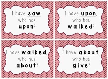 I Have, Who Has Game - 1st Grade Texas Treasures Unit 4 Sight Words - DOTS