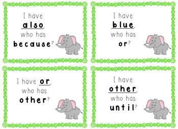 I Have, Who Has Game - 1st Grade Texas Treasures Unit 4 Sight Words - Elephants