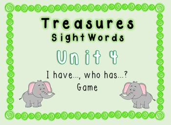 I Have, Who Has Game - 1st Grade Texas Treasures Unit 4 Sight Words - Elephants