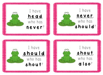 I Have, Who Has Game - 1st Grade Texas Treasures Unit 4 Sight Words - FROGS