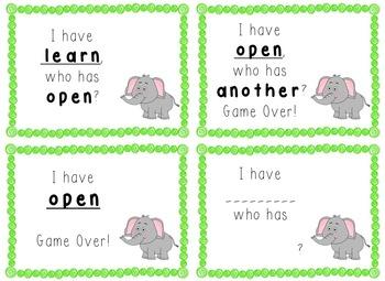 I Have, Who Has Game - 1st Grade Texas Treasures Unit 5 Sight Words - Elephants