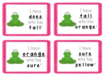 I Have, Who Has Game - 1st Grade Texas Treasures Unit 5 Sight Words - FROGS