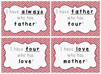 I Have, Who Has Game - 1st Grade Texas Treasures Unit 6 Sight Words - DOTS