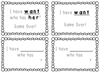 I Have, Who Has Game - 1st Grade Treasures Word Wall Words Black and White