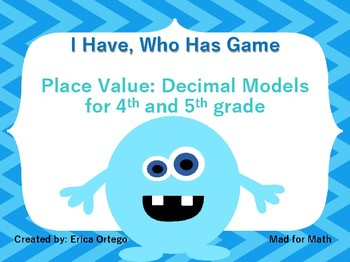I Have Who Has Game: 4th and 5th Grade Decimal Models
