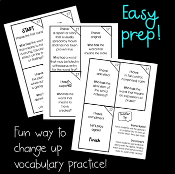I Have, Who Has Game (5th Grade Journeys, Lesson 17 Vocabulary)