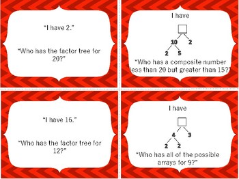 I Have Who Has Game: 5th Grade Prime and Composite Numbers 5.4A