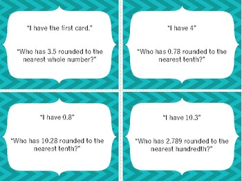 I Have Who Has Game: 5th Grade Rounding Decimal Numbers 5.2C & 5.NBT.A.4