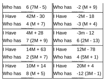 I Have, Who Has Game - Algebra - Distributive Property 1