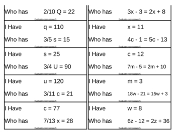 I Have, Who Has Game - Algebra - Evaluate Expressions 5