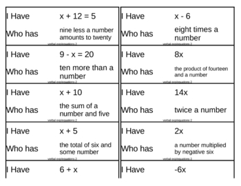 I Have, Who Has Game - Algebra - Verbal Exp/Equations 2