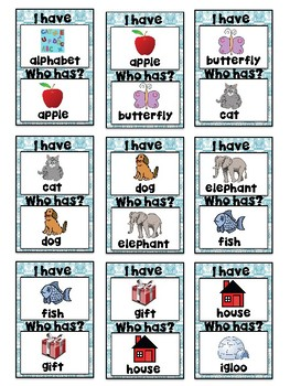I Have, Who Has? Game – Alphabet - Great for ESL/ENL