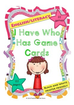 I Have Who Has Game Bundle English Literacy Black and White School Kids Theme