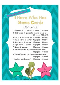 I Have Who Has Game Bundle English Literacy Turtle School Theme
