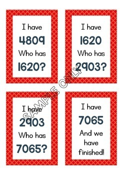 I Have Who Has Maths Game Bundle, Numbers to 12 000 + Fractions