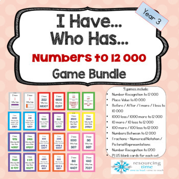 I Have Who Has Maths Games -Numbers to 12 000 + Fractions (9 Games)