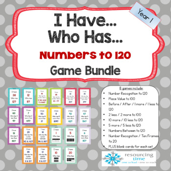 I Have Who Has Maths Game Bundle - Numbers up to 120 (8 games)