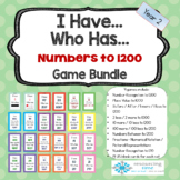 I Have Who Has Maths - Numbers to 1000 and 1200 + Fraction