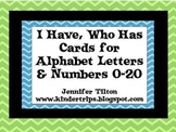 I Have, Who Has Game Cards-Alphabet Letters and Numbers 0-20
