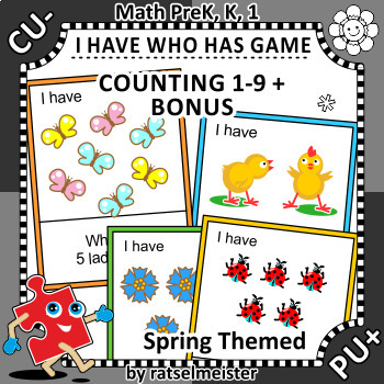 I Have Who Has Game, Counting 1-9, Spring Themed