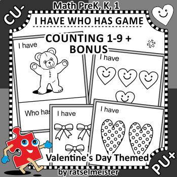 I Have Who Has Game, Counting 1-9, Valentine's Day Themed