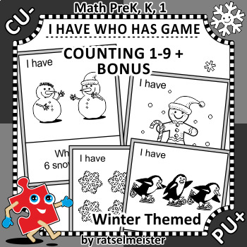 I Have Who Has Game, Counting 1-9, Winter Themed